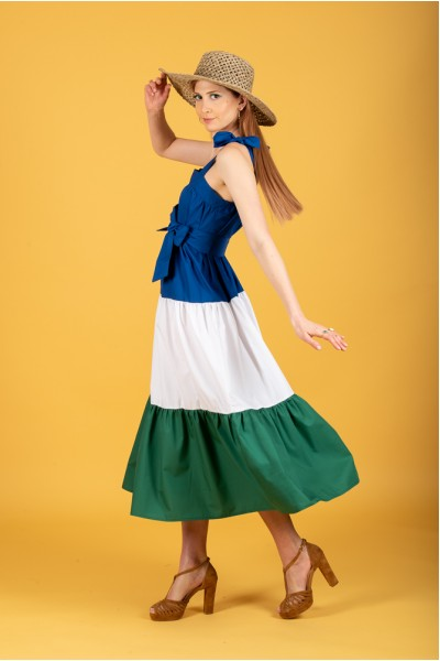 Cindy dress (Blue-White-Green)